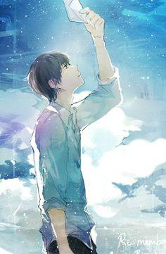 anime, sky, and anime boy image