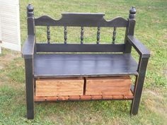 Bench Furniture, Refurbished Furniture, Repurposed Furniture, Furniture Makeover, Bed Frame Bench, Headboard Benches, Rocking Chair Diy, Old Bed Frames, Do It Yourself Furniture