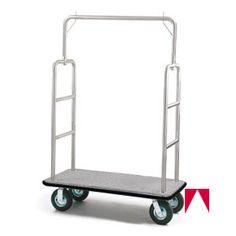 "Luggage Cart, Registry, 8"" Hard Gray Wheels, 25"" W x 71"" H x 49"" L, Stainless Steel Finish, Gray Bumper, Gray Carpet - American Hotel Register"