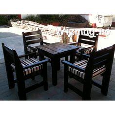 Masa si fotolii din lemn Wenghe Outdoor Furniture Sets, Outdoor Decor, Home Decor, Sun, Decoration Home, Room Decor, Home Interior Design, Home Decoration, Interior Design