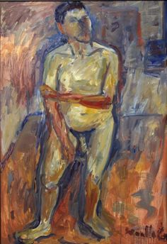 oss Woollaston, Male Nude, Oil on board. Summer School, New Zealand, Oil, Artists, Models, Board, Painting, Painting Art, Paintings