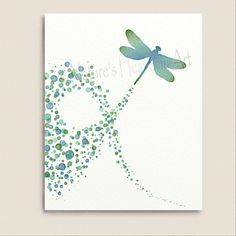 Turquoise Wall Decor Dragonfly Art Print 8 x 10, Polka Dot Pattern, Blue Green…