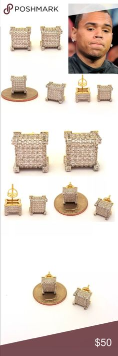 MENS ICED OUT HIP HOP 18K YELLOW GOLd MENS ICED OUT HIP HOP 18K YELLOW GOLD FINISH LAB DIAMOND  SCREW BACK SQUARE STUD EARRINGS  Color: Gold  Size: 10mm x 10mm Square             8mm x 8mm Square               8mm x 8mm square                6mm x 6mm square      Stone:  Lab Diamonds 18k Yellow Gold Finish Screw back Accessories Jewelry