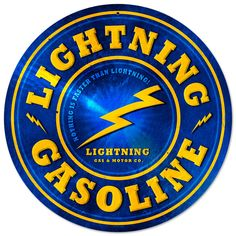 This Lightning Gasoline round metal sign measures 14 inches by 14 inches and weighs in at 2 lb(s). We hand make all of our round metal signs in the USA using heavy gauge american steel and a process known as sublimation, where the image is baked into a powder coating for a durable and long lastin...