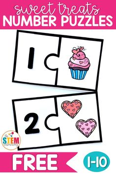 February means classrooms will begin filling with all things HEARTS and Valentine's treats! Speaking of treats, students will love practicing counting with these sweet number puzzles. It's a perfect math center or early finisher activity for students in preschool and kindergarten. #valentinesdayactivities #numberpuzzles