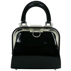 Preowned Christian Dior Vintage Black Patent Micro Mini Doctor Style... ($840) ❤ liked on Polyvore featuring bags, handbags, black, patent leather handbags, christian dior purses, vintage handbags, mini hand bags and mini purse