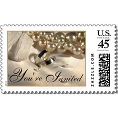 Wedding Ring Pillow And Pearls Postage Stamp by TDSwhite http://www.zazzle.com/wedding_ring_pillow_and_pearls_postage_stamp-172995063576960832