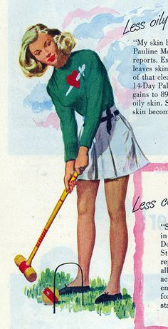 Croquet and one seriously fabulous vintage heart + dagger sweater (1947). #vintage #sports #1940s #croquet