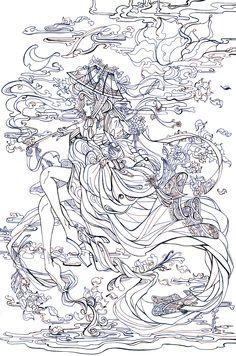 유연한 곡선과 연기의 흐름을 통해 기생의 아름다운 자태를 꽃과 같이 표현함