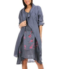 Another great find on #zulily! Blue Roll-Tab Sleeve Linen Jacket - Women #zulilyfinds