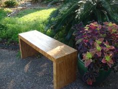 One-Sheet Plywood Bench: A unique and interesting bench made from one sheet of plywood. It might be interesting to dovetail the seams for a unique look... I'd love to try this when I have a garden to put it in.