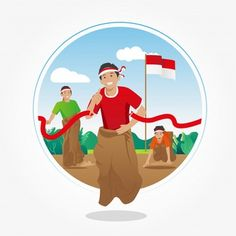 sack race competition on august - indonesian independence day Premium Vector Independence Day Greeting Cards, Happy Independence Day, Indepedence Day, Best Photo Background, Vector Background, Indonesian Independence, Ramadan Cards, Sack Race, Project Based Learning