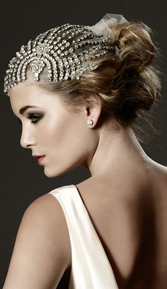 Spectacular Entertaining Events| Serafini Amelia| Wedding Styling -Wedding Dress|  Art Deco-Bejeweled Headress
