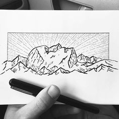 WEBSTA @ drawntosketching - Little sketch in the car. #🚙 Man in the mountains. Finished it in half the time it's taken us to get through Tacoma... 😟 Hood River bound! 😀👍#sketch #sketchbook #drawing #art #instaart #micron #pen #ink #brushpen #bw #iblackwork #sketch_daily #illustration #outdoors #mountains #portrait #landscape #sunrise #energy #inspiration
