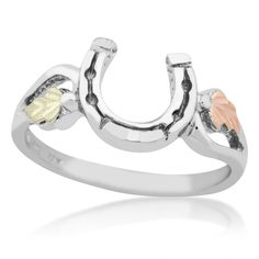 Sterling Silver Horseshoe Black Hills Gold Ring