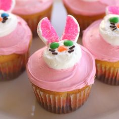 #122646 - Pink Easter Bunny Cupcakes By TasteSpotting -- see more at LuxeFinds.com >> These are SO CUTE!