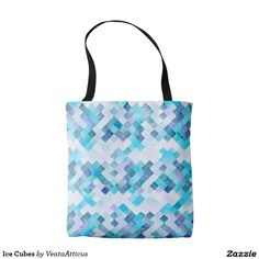 Ice Cubes tote bag. A refreshing cool print of abstract ice cubes in chilly blue tones.