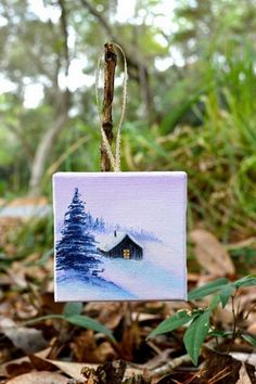 Well, the artistic miniature painting ideas listed in this article are intricate and delicate brushwork which lends them a unique identity, these paintings Small Canvas Paintings, Mini Canvas Art, Small Paintings, Christmas Paintings, Christmas Art, Christmas Ornament, Ornaments, Mini Toile, Arte Sketchbook