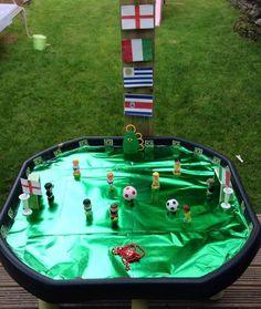 Tuff Tray becomes football pitch from Tuff Tray Ideas from Jo Jo Father's Day Activities, Nursery Activities, Outdoor Activities, Sensory Bins, Sensory Play, Black Tray, Black Table, Outdoor Learning, Outdoor Play