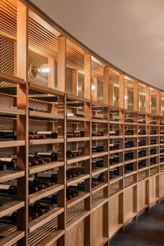 Located in Barossa Valley in South Australia, St Hugo& design brief to Studio-Gram called for the ultimate high-end wine experience. Wine Shelves, Wine Storage, Timber Shelves, Shelving, Home Wine Cellars, Bar A Vin, Wine Cellar Design, Joinery Details, Wine Display