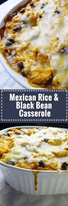 Mexican Rice & Black Bean Casserole - popular ingredients like rice, chicken, refried bean, and cream cheese // mix it all up for a max prep and cook time of 1 hr, and have fabulous meals during th (Mexican Recipes Casserole) Mexican Dishes, Mexican Food Recipes, New Recipes, Cooking Recipes, Favorite Recipes, Beans Recipes, Pork Recipes, Recipies, Cake Recipes
