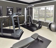 Home gym idea. The walls (in a much lighter color) would make the place feel like a home space rather than a nasty part of the garage. Sports & Outdoors - Sports & Fitness - home gym - amzn.to/2jsMKm8 Home Gyms http://amzn.to/2l56zQc