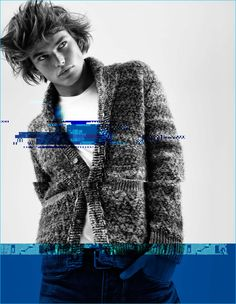 Jordan Barrett dons a marled knit cardigan sweater for Pepe Jeans' fall-winter…