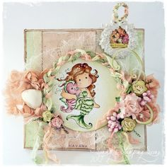 """Card by LLC DT Member Sandra Mathis, using Riddersholm Design's """"Bello Pastello"""" collection and Magnolia's """"Pearl Tilda""""."""