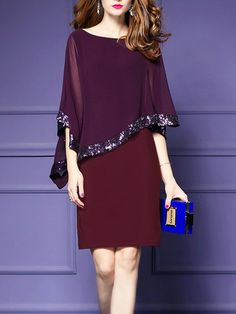 Shop Midi Dresses - Burgundy Solid Asymmetric Cape Sleeve Midi Dress online. Discover unique designers fashion at StyleWe.com.