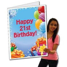 2'x3' Giant 21st Birthday Card w/Envelope - Presents and Balloons with