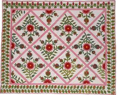 1845' from state of Kentucky 201cm x 173cm     Rose of Sharon, growing in the land of Palestine from the Song of Solomon 2, was the most popular quilt patterns along with nature theme like flowers or fruits.   This pattern was done in light color scheme with rose and apple. Romantic and spiritual, Rose of Sharon was one of the best loved quilts by quiltbees. It also won wealthy American's heart, and often high prices were paid for them.