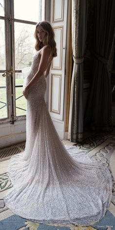 inba dror fall 2018 bridal sleeveless deep v neck full embellishment ribbon front romantic sexy fit and flare wedding dress open back chapel train (1) bv -- Inbal Dror Fall 2018 Wedding Dresses Lookbook