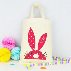 Personalised easter egg hunt bag ribbon wrap easter personalised rabbit easter gift bag negle Image collections