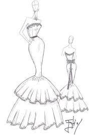Resultado de imagen para bocetos de diseños de moda de vestidos a lapiz