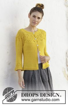 Summer twinkle / DROPS - free knitting patterns by DROPS design Knitted jacket with leaf pattern, knobs, round yoke and long sleeves. The piece is worked in DROPS Flora from top to. Knitting Patterns Free, Knit Patterns, Free Knitting, Free Pattern, Summer Knitting, Drops Design, Knit Jacket, Knit Cardigan, Drops Patterns