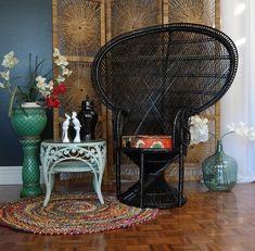 1970s Vintage Black Peacock Chair Eclectic Boho Gypsy Retro Wicker Cane | eBay