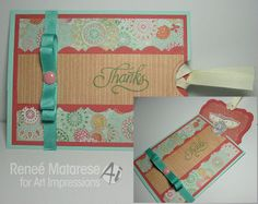 Tag card with pocket envelope...thanks,  You're Spectacular!  Thank you card with verse and image from Art Impressions.  Tutorial for tag and envelope on blog.