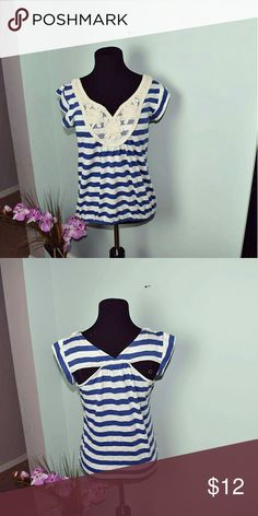 Beautiful Royal Blue & Crochet Detailed Blouse Super Cute and lightweight! Tops Blouses