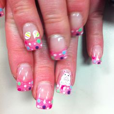 Easter nails but not feeling the bunny and eggs. Love the tips though