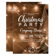 Shop Rustic Christmas country corporate jute light Invitation created by girly_trend. Christmas Save The Date, Rustic Christmas, Christmas Ideas, Christmas Invitations, Party Invitations, Invites, Party Flyer, Company Names, Perfect Party