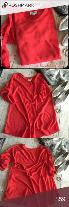 Patchington Red High Low V Neck Swing Top ❤️ Patchington Red V Neck Swing 3/4 Sleeve Top ~ adorable! This is the perfect top to wear with leggings or jeggings! This top has raglan three-quarter length convertible tab button sleeves. A V neck line. High low hem line. There is a yoke across the back that is perfect to help with the fit of this top! This top is a red orange beautiful heathered sweater material but is very light weight. It is 100% polyester VERY soft! Great drape to this top! SO…