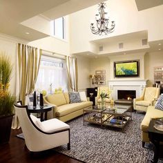 Good View by Living Room with  Yellow Sofas that White Single Sofa Make Different and Add Comfort the Interior Design