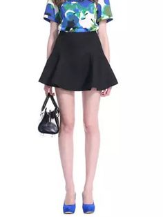 High Wasit Mini Skater Skirt in Black - Fashion Clothing, Latest Street Fashion At Abaday.com