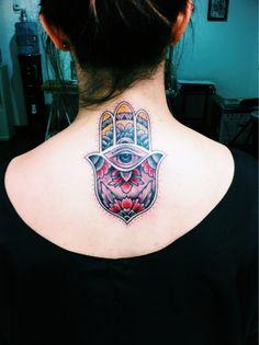 Hamsa Tattoo Color My hamsa tattoo done by Hamsa Hand Tattoo, Hand Tattoos, Tatoos, Tattoo You, Back Tattoo, Tattoo Girls, Weird Tattoos, Nice Tattoos, Hand Of Fatima