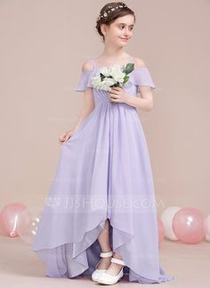 [US$ 70.49] A-Line/Princess Off-the-Shoulder Asymmetrical Chiffon Junior Bridesmaid Dress With Cascading Ruffles
