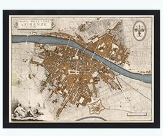 Old Map of Florence Firenze 1847 Antique Vintage by OldCityPrints