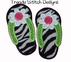 Flip Flop FLOWER Applique design Machine Embroidery Design INSTANT DOWNLOAD via Etsy