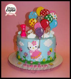 Torta Hello Kitty con palloncini