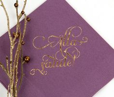 Alla Salute! Custom plum cocktail napkin, click here to start personalizing you own cocktail napkins http://www.foryourparty.com/products/editor/7479
