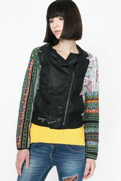 Desigual Jacket Tais 61E29C0 Faux Leather Jackets, Boutique, Boho,  Embroidery, Sleeves, 2df4c40fcbb8
